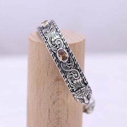 S925 sterling silver ancient retro vintage engraving pattern double tiger head bracelet on Sale