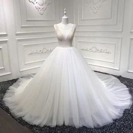 Sparkly pleated bridal ball gownS online shopping - Sparkly Illusion Neck Ball Gown Tulle Plus Size Wedding Dresses Online Court Train Pearls Beaded Wedding Dresses Lace Up Back Bridal Gowns