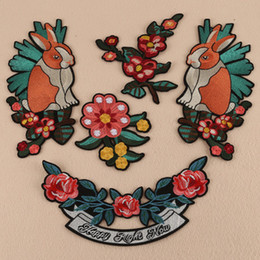 EmbroidEry clothEs stickErs online shopping - 10pcs set Embroidery new computer embroidery cloth stickers flower rabbit combination high end clothing accessories bag accessories