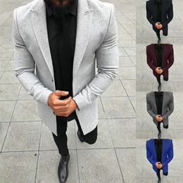 blazer herren großhandel-Massivfarbe Herren Designeranzüge Mode Täfelte gerade Herren Blazer Casual Single Breasted Business Male Clothing