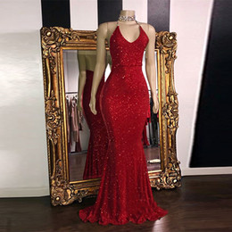 $enCountryForm.capitalKeyWord Australia - Real Image Red Gorgeous Glitter Sequins Prom Dresses 2019 Mermaid Halter V Neck Sexy Evening Gowns Sweep Train Long Party Dress High Quality