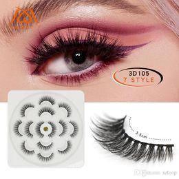 $enCountryForm.capitalKeyWord Australia - Lotus Shape 7 Pairs 3D Mink Lashes Natural Long False Eyelashes Dramatic Volume Fake Lashes 5D Makeup Eyelash Extension