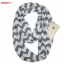 $enCountryForm.capitalKeyWord UK - Fashionable high quality 100% cotton jersey chevron print zipper pocket infinity scarf wholesale