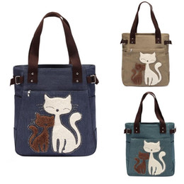 cute canvas handbags Australia - Lovely Cute Cat Canvas Handbag for Girls Ladies Large Capacity Casual Bag Women Portable Solid Zipper Shoulder Bag Bolsos Mujer