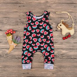 b723b933cc 2019 Summer Newborn Baby Girl Boy Romper Sleeveless Jumpsuit Clothes Outfit Watermelon  Print Baby Rompers 6-18M
