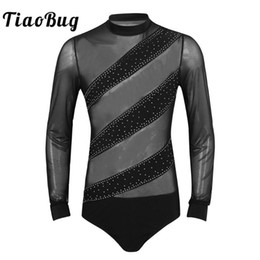 tango dancewear UK - Men Competition Dancewear Shiny Rhinestones Long Sleeves Mesh Splice Gymnastics Leotard Latin Tango Rumba Ballroom Shirt Tops