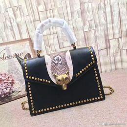 $enCountryForm.capitalKeyWord NZ - 2018 new women Handbags Ladies Totes calfskin Genuine Leather Bamboo hand Purse shoulder bag fox Twist lock top quality casual bags 450628