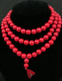 Discount white gold tibetan necklaces - Free shipping huij 004717 Rare 108 Tibetan Buddhist Red Coral 10mm Prayer Beads Necklace