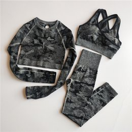 bra sleeves NZ - 3PCS Camo Seamless Yoga Set Sports Wear Women Fitness Clothing Yoga Leggings+Sport Bra+Long Sleeve Crop Top Gym Sports Suits Y200328