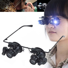 Magnification Loupes Australia - Luxury-LED 20X Magnifier Magnifying Dual Eye Glasses Loupe Lens Jeweler Watch Repair loupe magnification jewellers loupe