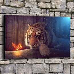 $enCountryForm.capitalKeyWord NZ - Wall Art Canvas Prints Pictures 1 Piece Fantasy Tiger And Butterfly Painting Living Room Forest Animals Poster Home Decor Frame