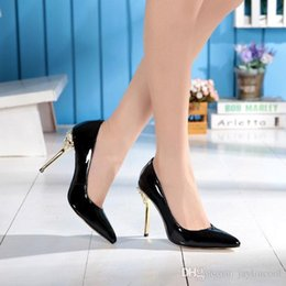high pump sex Australia - Spring Autumn Designer Brand Sex High Heels Women Fashion Pointed Toe Office Ladies Genuine Patent Leather Pumps Sweet Girls Wedding Shoes