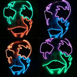 Face Painting Men Australia - Led Glowing Halloween Face Mask Street Dance Hand -Painted Pvc Glue Forehead Cold Light Mask