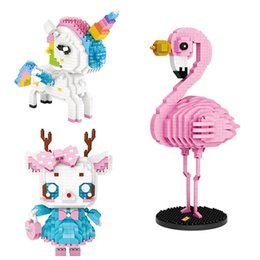 China LOZ Diamond Blocks Rainbow Unicorn Deer Girl Flamingo Colorful Cartoon Animals Block Toys for Children Gift DIY 9204 9205 9215 cheap loz diamond toy suppliers