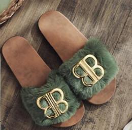 $enCountryForm.capitalKeyWord Australia - Coolsa New Kids Fox Fur Slippers Real Fur Slides Fluffy Fox Hair Sandals PU Flat Children Fuzzy Home Flip Flop Beach Shoes