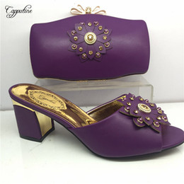$enCountryForm.capitalKeyWord Australia - Excellent party sets high heel African sandal shoes and evening handbag sets for lady GY30 in purple, heel height 6cm