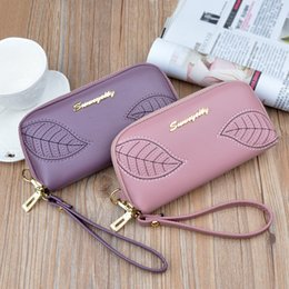 Leaf Coin Australia - New handbag female embroidered leaves ladies long zipper hand wallet fashion coin purse large capacity mobile phone bag