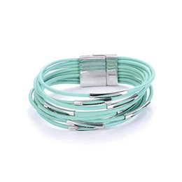 multi cord bracelet 2019 - New trendy ccb tube spacer multi-layer multicolor geniune leather cord magnetic clasp wrap bracelets bangles for women a