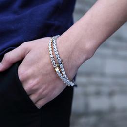 Stainless Steel Jewelry Boxes Australia - Fashion 14k Gold Bracelet Mens Box Chain Bracelets Full Rhinestone Crystal Hip Hop Jewelry Stainless Steel Bracelet Bangles For Men