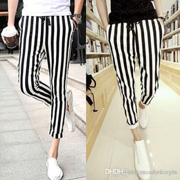 Wholesale Men Black And White mens casual pants Leggings Zebra Print Vertical Stripe Pants SLIM FIT TROUSERS