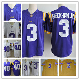 NCAA  3 Odell Beckham Jr LSU Tigers College Football Jerseys Stitched  Purple White 40 Devin White Jersey S-3XL 19c52bbee