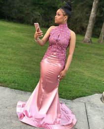 24w plus size prom dresses NZ - Mermaid 2019 Prom Dresses High Neck Lace Appliques Beads Plus Size Black Girls African Arabic Formal Evening Party Gowns