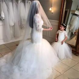 $enCountryForm.capitalKeyWord NZ - Mermaid White Flower Girls Dress for Wedding Short Sleeves Princess Lace Elegant First Holy Communion Dress Floor Length Kids Formal Wear