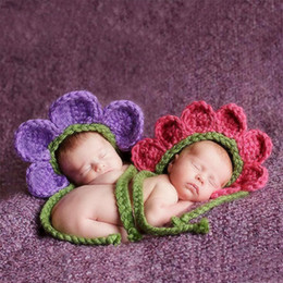 Crocheted Hats For Infants Australia - Baby photography props crochet sunflower hat 3 colors newborn photo accessories knitted caps for infant girl boy fotografia baby shower gift