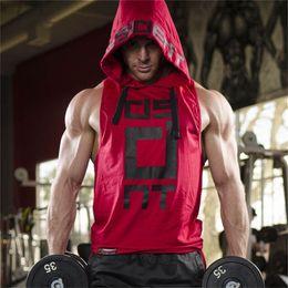 $enCountryForm.capitalKeyWord NZ - Male Joggers Hoodie Vest Running Vests Hooded Sleeveless Shirt Men Fitness Tanktop Cotton Mens Bodybuilding Undershirt