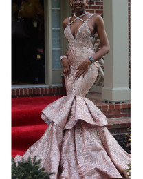 $enCountryForm.capitalKeyWord Australia - 2019 Glitter Sequin Rose Gold Mermaid African Prom Dresses Long Black Girls Spaghetti Straps Tiered Puffy Backless Evening Dress