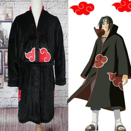 Wholesale naruto itachi uchiha cosplay costume resale online - Naruto Bathrobe Cosplay Akatsuki Flannel Pajamas Winter Robes Uchiha Itachi Halloween Costume