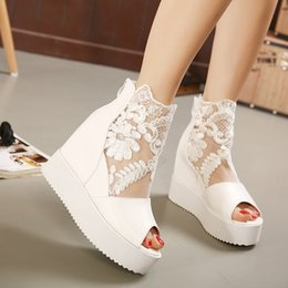 $enCountryForm.capitalKeyWord NZ - Wedge sandals inside the thickening high-heeled muffin bottom flat shoes fish mouth lace hollow 2019 summer new fast delivery