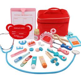 Instruments médicaux imitation bois Jouets pour enfants Série Cloth Medicine Bag Cabinet Kids Play Simulation Doctor Injection Toy cadeau L579 en Solde