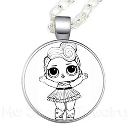 Discount glasses displays - 1pc Cartoon Girl Doll Glass Pendant Necklace Display Handheld Baby Action Children's Birthday Party Gift