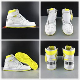 sneakers bar 2019 - Basketball Shoes 1 1s First Class Flight Mens Fashion Bar Code Design White Lemon Yellow Outdoor Trainer Sports Sneakers