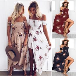 e58070930b6 Women Chest Wrap Off Shoulder Split Dresses Bohemian Long tube Dress  Seaside Travel Beach breast Dresses Flora Maxiskit plus size C42207