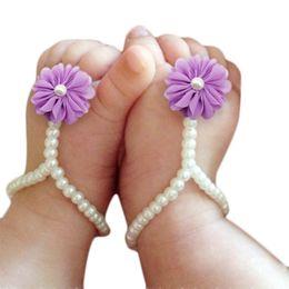 $enCountryForm.capitalKeyWord NZ - First Walker Baby Beach Foot Anklet Chain Newborn Baby Flower Barefoot Shoes Pearl Flower Foot Sandals Kids Accessories Dropship