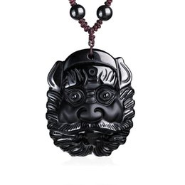 $enCountryForm.capitalKeyWord UK - Fine Jewelry clin-yy Hand Carved Natural Genuine Obsidian Buddha Zhong Kui Head Amulet Pendant Necklace Free Shipping