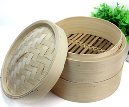 2 strati di bambù cinese a vapore panini al vapore Dim Sum Riso cucina a vapore ripiano cremagliera Vassoio cottura a vapore pentole con coperchio
