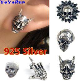 $enCountryForm.capitalKeyWord Australia - 1 Piece Retro 925 Silver evil skeleton Stud Earrings ear cuff Gothic Punk vampire skull head Prevent Allergy earing Jewelry Gift