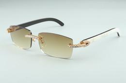 Los últimos 3524012-13 Gafas de sol infinitas de diamantes, cuernos mixtos naturales, para hombres y mujeres gafas infinito, tamaño: 56-36-18-140mm en venta