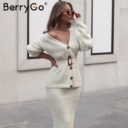 Wholesale elegant women suits long skirt for sale - Group buy BerryGo Two piece women knitted dress set Elegant autumn winter sweater dress suits Long sleeve button sashes female skirt
