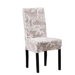 simple chair covers 2019 - Lychee Simple Floral Print Chair Cover Stretch Elastic Chair Covers for Home Kitchen Wedding Birthday Party discount sim