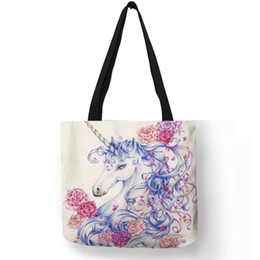 Casual Carry Bags Australia - Cartoon Animal Prints Shoulder Bag Cute Colorful Unicorn Handbag School Casual Shopping Traveling Foldable Carry Storage Bags