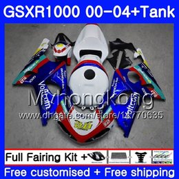 Discount gsxr fairings dark blue - +Tank For SUZUKI GSX R1000 GSX-R1000 GSXR1000 01 02 03 04 299HM.0 GSXR-1000 K2 K3 GSXR 1000 2000 2001 2002 2003 2004 Fai