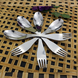 $enCountryForm.capitalKeyWord Australia - Fork spoon spork 2 in 1 tableware Stainless steel cutlery utensil combo Kitchen outdoor picnic scoop fork set ko479