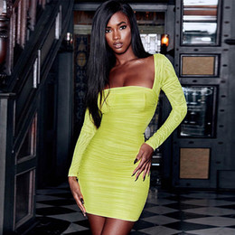 3f4cf92f4e9 mesh see-through long sleeve slash neck sexy mini dress 2019 spring women  fashion club party neon yellow solid dress