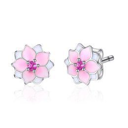 078f7d084 Bloom Earrings Australia - ewelrypalace 925 Sterling Magnolia Bloom Pink  Enamel Stud Earrings Silver earring 2018