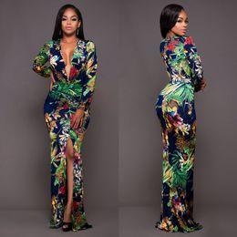 Ingrosso Large Size Stampa floreale Donna Manica lunga Sexy con scollo av Tunica Vintage Maxi Dress Plus Size Split Robe Femme Vestidos de fiesta YD5008