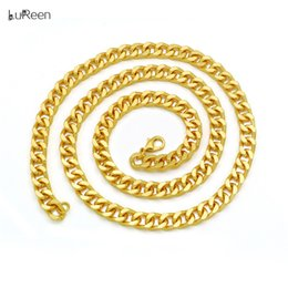 curb link chain 14k Australia - LuReen 30 Inch Long Mens Miami Cuban Link Chain 14k Gold 8mm Hip Hop Curb Link Necklace Chain Unisex Jewelry Gift